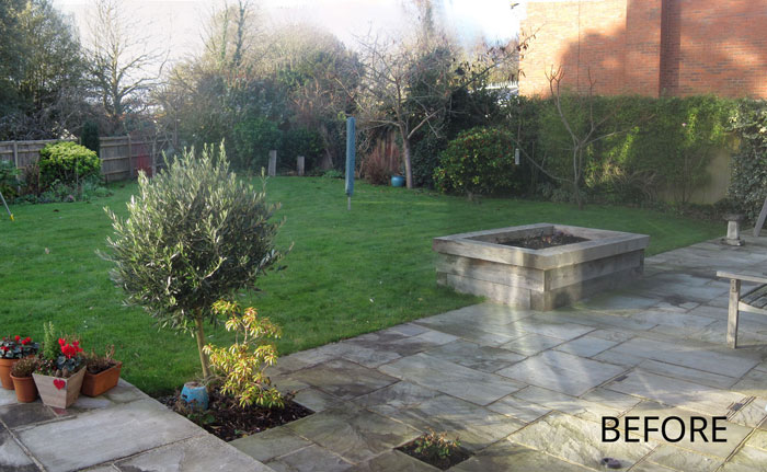 the garden had an existing terrace which was to be kept a slight slope and an awkward triangular shape my design for the garden aligned the pool to be